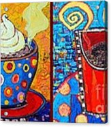 Her And His Coffee Cups Acrylic Print