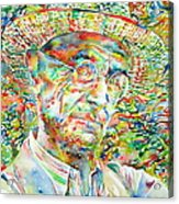 Hermann Hesse With Hat Watercolor Portrait Acrylic Print