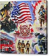 Heroes American Firefighters Acrylic Print