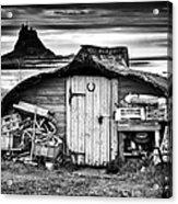 Herring Boat Hut Lindisfarne Monochrome Acrylic Print