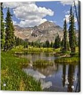 Hesperus Mountain Reflection Acrylic Print by Aaron Spong