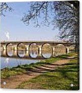 Hexham Bridge And Riverside Path Acrylic Print