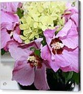 Pink Hibiscu And Hydrangea Flower #2 Acrylic Print