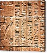 Hieroglyphs In The Temple Of Kalabsha  Acrylic Print