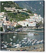 High Angle View Of A Town, Amalfi Acrylic Print