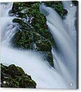 High Angle View Of A Waterfall, Sol Duc Acrylic Print