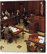 High angle view of courtroom Acrylic Print