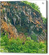 High Cliffs Along River Kwai In Kanchanaburi-thailand Acrylic Print