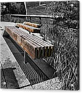 High Line Benches Black And White Acrylic Print