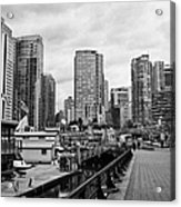 high rise apartment condo blocks in the west end coal harbour marina Vancouver BC Canada Acrylic Print