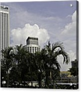 High Rise Buildings Behind Trees Along With Construction Work In Singapore Acrylic Print