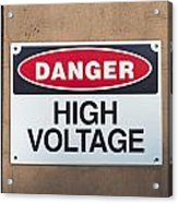High Voltage Sign Acrylic Print by Hans Engbers