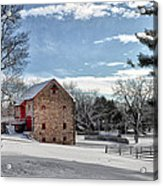 Highland Farms In The Snow Acrylic Print