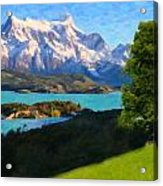 Highlands Of Chile  Lago Pehoe In Torres Del Paine Chile Acrylic Print