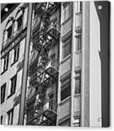 Highrise Fire Escape Bw Acrylic Print