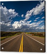 Highway Life - Blue Sky Down The Road In Oklahoma Acrylic Print