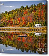 Highway Through Fall Forest Acrylic Print
