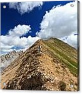 Hiker On Mountain Ridge Acrylic Print