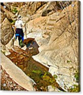 Hiker On Window Trail In Chisos Basin In Big Bend National Park-texas   Acrylic Print