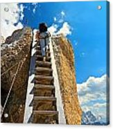 Hiker On Wooden Staircase Acrylic Print