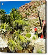 Hikers At Oasis On Borrego Palm Canyon Trail In Anza-borrego Desert Sp-ca  Acrylic Print