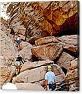 Hikers Enter Ladder Canyon From Big Painted Canyons Trail In Mecca Hills-ca  Acrylic Print