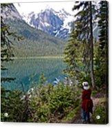 Hiking On Emerald Lake Trail In Yoho Np-bc Acrylic Print