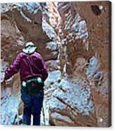 Hiking Through Narrow Slot Of Ladder Canyon Trail In Mecca Hills-ca Acrylic Print