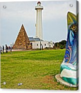 Hill Lighthouse Built In 1861 And Donkin Memorial Pyramid Honoring The Wife Of Sir Rufus Donkin-sout Acrylic Print