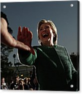 Hillary Clinton Campaigns In North Acrylic Print
