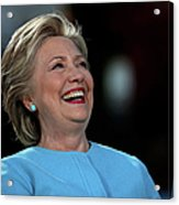 Hillary Clinton Is Joined By Maggie Acrylic Print