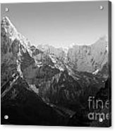 Himalaya Mountains Black And White Acrylic Print