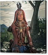 Himba Woman With Traditional Hair Dress Acrylic Print