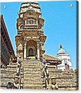 Hindu Temples In Bhaktapur Durbar Square In Bhaktapur-nepal Acrylic Print