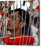 Hindu Thaipusam Festival Pierced Devotee In Singapore Acrylic Print