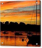 Hingham Sunset And Sailboats Acrylic Print
