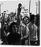 Hispanic Anti-viet Nam War Rally Tucson Arizona 1971 Black And White Acrylic Print