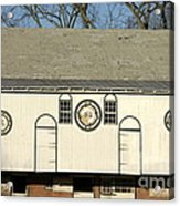 Historic Barn With Hex Signs In Pennsylvania Acrylic Print by Anna Lisa Yoder