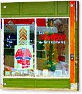 Historic Habs Hockey Jersey St Henri Storefront Les Demons De Notre Dame Montreal Art Carole Spandau Acrylic Print