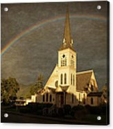 Historic Methodist Church In Rainbow Light Acrylic Print