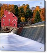 Historic Red Mill At Fall Clinton New Jersey Acrylic Print