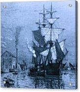 Historic Seaport Blue Schooner Acrylic Print by John Stephens