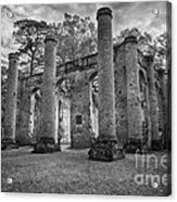 Historic Sheldon Church 5 Bw Acrylic Print