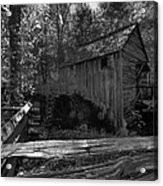 Historical 1868 Cades Cove Cable Mill In Black And White Acrylic Print