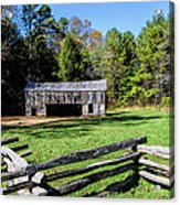 Historical Cantilever Barn At Cades Cove Tennessee Acrylic Print by Kathy Clark
