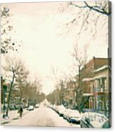 Hiver Psc Winter In The Point Snowy Day Paintings Montreal Art Cityscenes Brick Houses Snowed In Acrylic Print