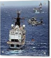 Hms Cornwall Is Pictured Receiving Stores By Merlin Helicopter  Acrylic Print