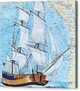 Hms Endeavour Tall Sailing Ship Chart Map Art Peek Acrylic Print