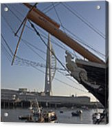 Hms Warrior Viewing The Spinnaker Tower Acrylic Print