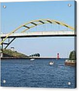 Hoan Bridge Boats Light House 1 Acrylic Print